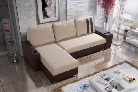 Ecksofa Sofa KNOX XL mit Schlaffunktion Braun /Beige Ottomane Links