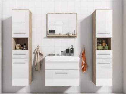 Badmöbel Set 5-Tlg Sonoma / Weiss Hochglanz LIVO XL inkl.Waschtisch - Vorschau 2