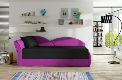 Sofa Schlafsofa inklusive Bettkasten ALINA / L- Violett / Schwarz