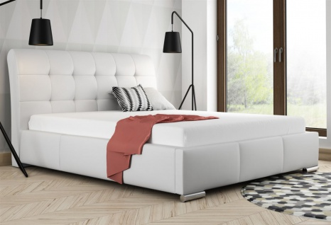 Polsterbett Bett Doppelbett MATTIS Kunstleder Weiss 180x200cm