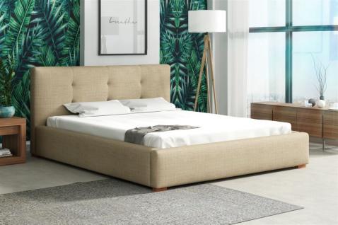 Polsterbett Bett Doppelbett TERAMO Kunstleder oder Stoff 120x200cm