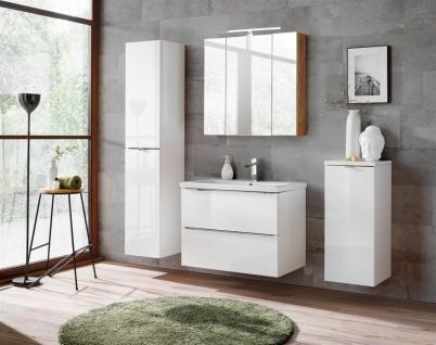 Badmöbel Set 5-tlg Badezimmerset PERUGIA Weiss Hochglanz Set.4