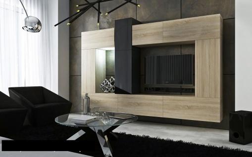 Mediawand Wohnwand 10 tlg - Konzept 22 - Sonoma matt/ Schwarz HGL