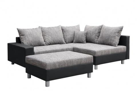 Couchgarnitur Allegra L-Form Schwarz-Grau inkl.Hocker/Ausführung Rechts