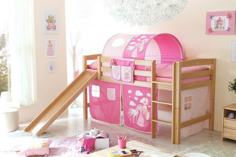 Hochbett ROBI R mit Rutsche Buche Natur + Vorhang Prinzessin-Pink