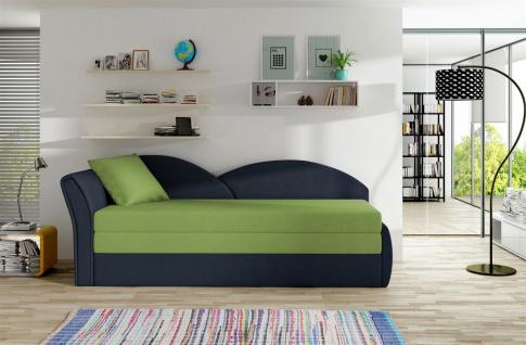 Sofa Schlafsofa inklusive Bettkasten ALINA / L- Dunkelblau / Limette