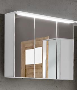 Badezimmer Spiegelschrank 80cm LAXY Weiss Hochglanz inkl.LED