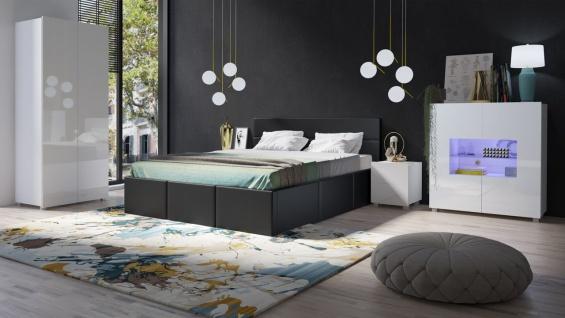 Schlafzimmer Komplett Set 5 tlg LABRI Schwarz- Weiss Hochglanz