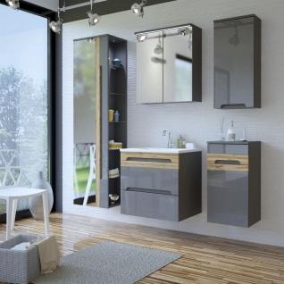 Badmöbel Set 5-tlg Badezimmerset LAXY 2- Grau HGL inkl.Waschtisch 60cm