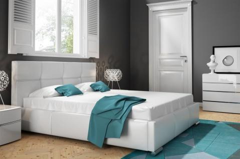 Polsterbett Bett Doppelbett TIMUR Kunstleder Weiss 140x200cm