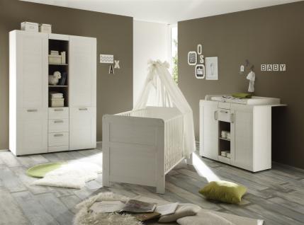 Babyzimmer Set - SALY - in Pinie Struktur weiß 3 teilig