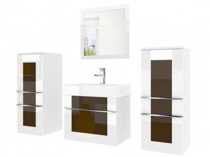 Badmöbel Set 4-tlg DAWINO Set.3 Weiss-Kastanien inkl.Waschtisch 50 cm