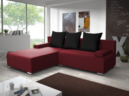 Ecksofa Sofa LUCY mit Schlaffunktion Rot / Schwarz Ottomane Links