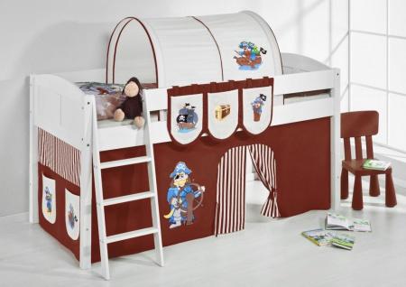 Spielbett Bett -LANDI - Pirat Braun -Teilbar- Kiefer Weiss-mit Vorhang