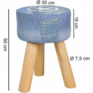 Hocker Sitzhocker POCKET Massivholz/ Denim rund 35x35x50cm