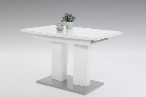Esstisch Auszugstisch FLORENZ 120-160x80 cm in Hochglanz Weiss /Glas