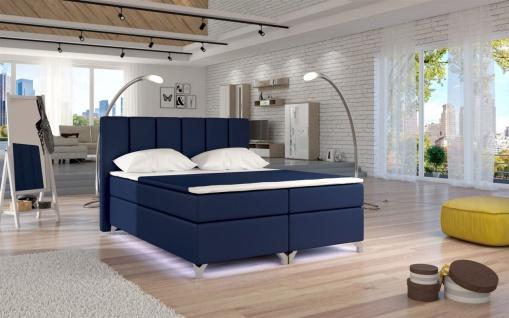 Boxspringbett Schlafzimmerbett PARMA Kunstleder Dunkelblau 140x200cm