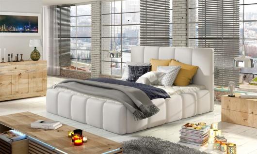 Polsterbett Doppelbett VERONA Komplettset Kunstleder Weiss 180x200cm