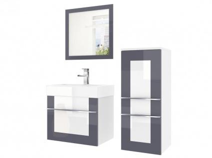 Badmöbel Set 3-tlg DAWINO Set.1 Grau-Weiss inkl.Waschtisch 50 cm