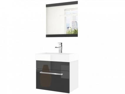 Badmöbel Set 2-tlg MARIO Set.6 Weiss-Schwarz HGL inkl.Waschtisch 50 cm - Vorschau