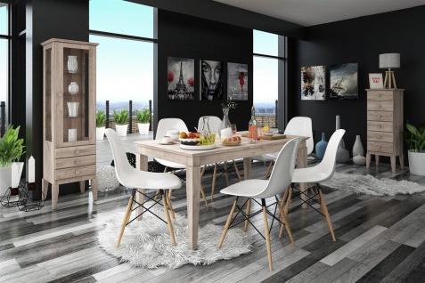 Esstisch Tisch ausziehbar LENNES Wildeiche geölt Bianco 120/165x100 cm