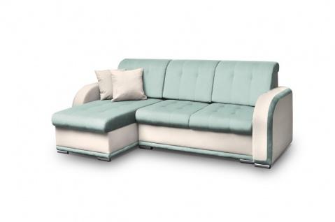 Ecksofa Sofa LINDO mit Schlaffunktion Beige-Mint Ottomane Links