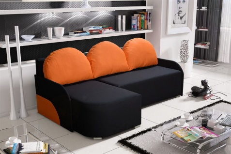Ecksofa Sofa CANDY mit Schlaffunktion Ottomane Links Schwarz / Orange