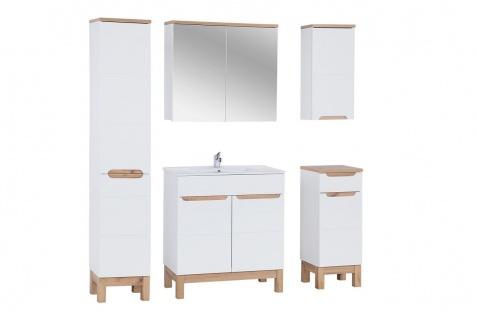 Badmöbel Set 5-tlg Badezimmerset DEVI Weiss HGL inkl.Waschtisch 80 cm