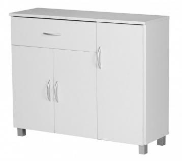 Kommode Sideboard - AMIRA - Weiss 90 x 75 cm mit 3 Türen + 1 Schublade - Vorschau 3