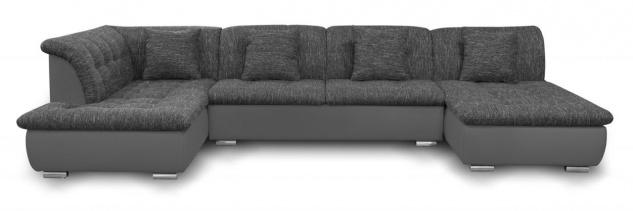 Couchgarnitur NICOLE ohne Schlaffunktion Ottomane Rechts Grau/Schwarz