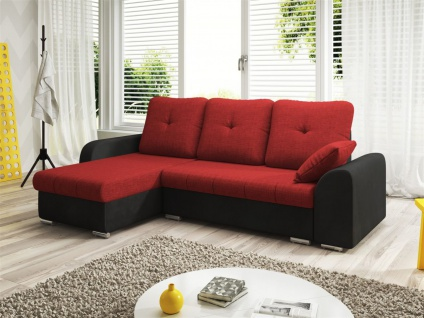 Ecksofa Sofa DEKOS mit Schlaffunktion Schwarz / Rot Ottomane Links