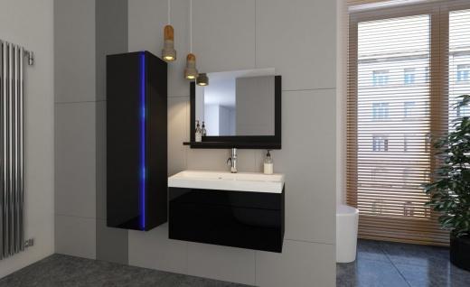 Badmöbel Set 4-Tlg Schwarz HGL SKYLINE XS inkl.60 cm Waschtisch + LED