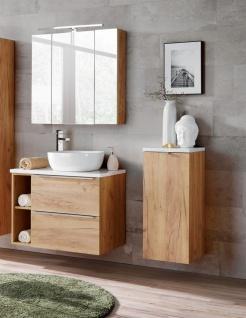 Badmöbel Set 6-tlg Badezimmerset PERUGIA Gold Eiche inkl. Waschbecken
