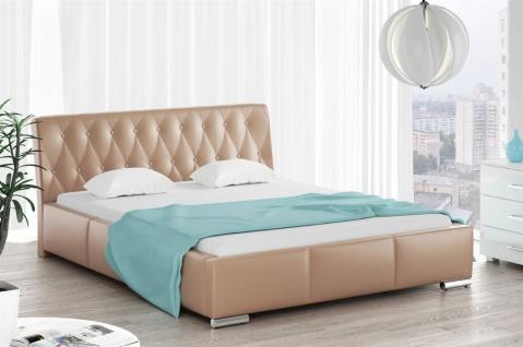 Polsterbett Bett Doppelbett THORE Kunstleder Cappuccino 160x200cm