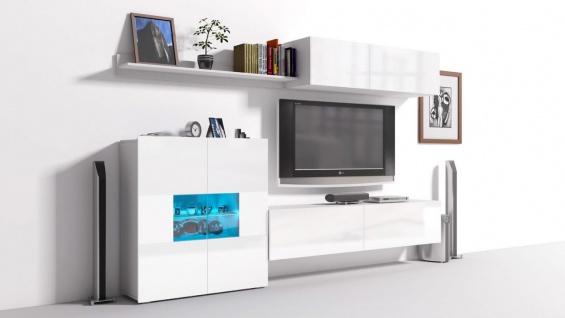 Mediawand Wohnwand 6 tlg - Konzept 10 - Weiss Hochglanz + LED