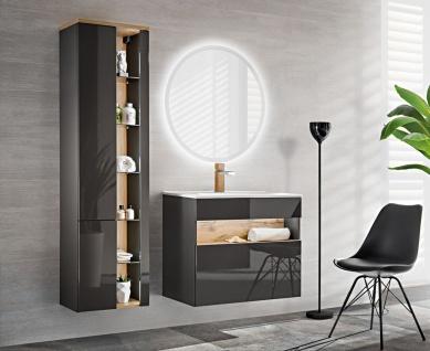 Badmöbel Set 3-tlg Badezimmerset VARESE Anthrazit inkl.Waschtisch 80cm