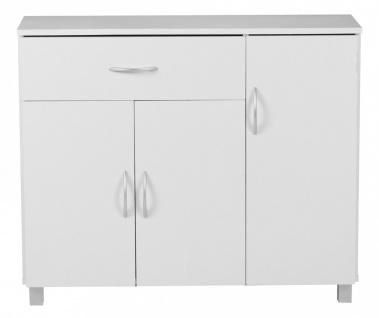 Kommode Sideboard - AMIRA - Weiss 90 x 75 cm mit 3 Türen + 1 Schublade - Vorschau 2