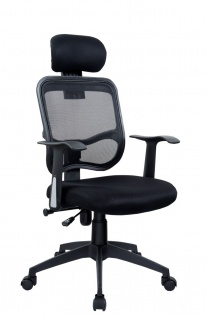 Drehstuhl Bürostuhl mit Kopfstütze Stuhl - Nr 33 - Schwarz