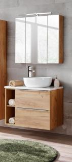 Badmöbel Set 5-tlg Badezimmerset PERUGIA Gold Eiche inkl. Waschbecken