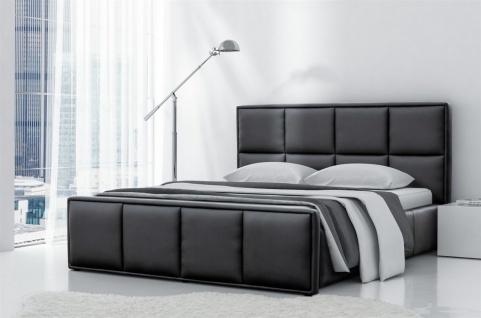Polsterbett Bett Doppelbett PEPE Kunstleder Schwarz 180x200cm