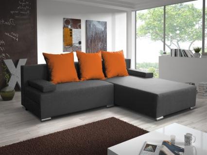 Ecksofa Sofa LUCY mit Schlaffunktion Grau / Orange Ottomane Rechts
