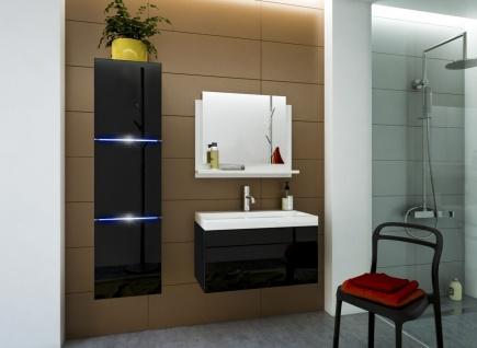 Badmöbel Set 4-Tlg Schwarz HGL DREAM XS inkl.80 cm Waschtisch und LED