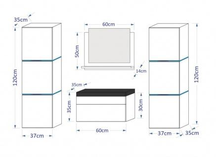 Badmöbel Set 5-Tlg Schwarz HGL LOBOS inkl.60 cm Waschtisch und LED - Vorschau 2