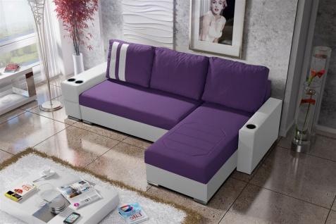 Ecksofa Sofa KNOX XL mit Schlaffunktion Weiss/ Violett Ottomane Rechts