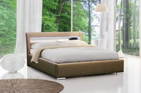 Polsterbett Bett Doppelbett KANSAS Kunstleder Cappuccino 140x200cm