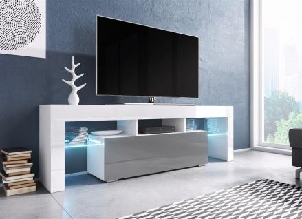 TV Board Lowboard TORIS Weiss / Grau Hochglanz 138cm