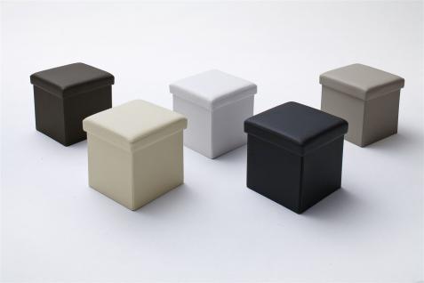 Sitzwürfel mit Deckel Hocker -SELL - Kunstleder Beige 40, 5x40, 5x40cm - Vorschau 3