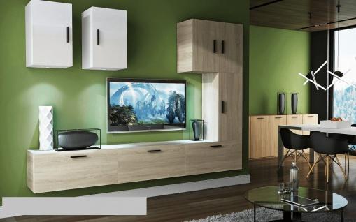 Mediawand Wohnwand 8 tlg - Bedox 4 - Sonoma matt- Weiss HGL Nr.1+LED