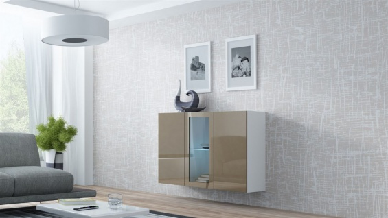 "Sideboard Hängesideboard "" LUGO"" 120x38x90 cm Weiss/ Latte HGL mit LED"