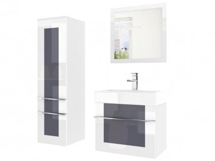 Badmöbel Set 3-tlg DAWINO Set.2 Weiss-Grau inkl.Waschtisch 50 cm